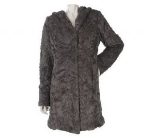 Dennis Basso Crushed Faux Fur Coat with Hood —