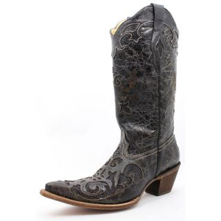 Corral Ladies Black Goat and Lizard Inlay Cowgirl Boots C2108