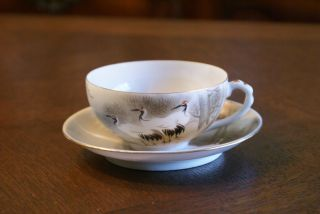 Vintage Red Crowned Sand Hill Crane Japanese Teapot Tea Set Cup Saucer