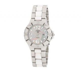 Swiss Tradition Ladies Diamond Watch, Silvertone/White —