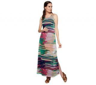 Liz Claiborne New York Watercolor Stripe Chiffon Maxi Dress —