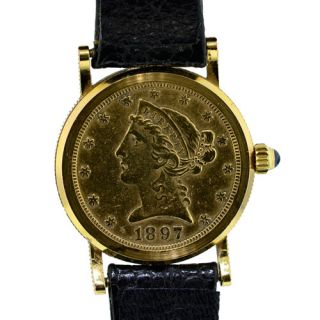 Corum 5 Dollor Coin 18k Gold Watch Ladies watch leather band