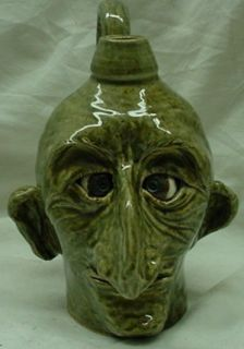 Lin Craven Southern Folk Art Pottery Big Nose Face Jug 2005