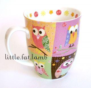 Creative Tops Colorful Multi Owls w Flower Pattern Bell Shape Coffee