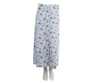 Denim & Co. Button Front Floral Print Skirt —