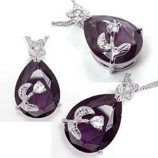 FASHION LADY JEWELRY PURPLE SAPPHIRE AMETHYST WHITE GOLD GP PENDANT
