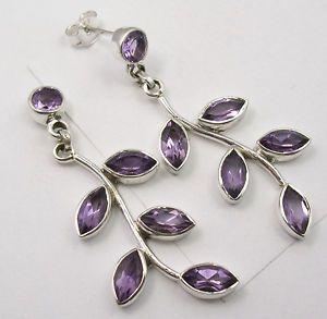 925 Silver Amethyst Tree Leaves Dangle Earrings 4 6cm
