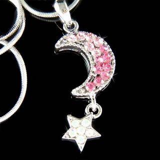 Pink w Swarovski Crystal Dream Crescent Moon Wish Star Chain Pendant