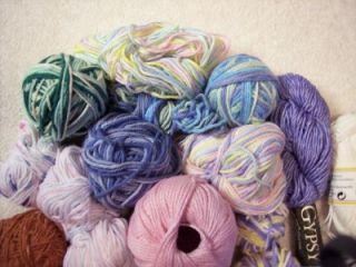 25 Mixed Assorted Pastel Colors Cotton Balls of YARN Sugar & Cream