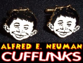 Alfred E Neuman Hardfired Enamel Cufflinks Mad Magazine Reader Survey