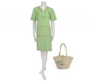 Quacker Factory Embroidered Terry Cloth Hooded Dress and Straw Tote