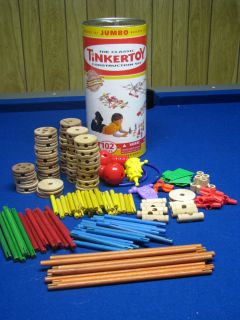 Classic Tinker Toy Jumbo Construction Set 150 pieces in Canister wood