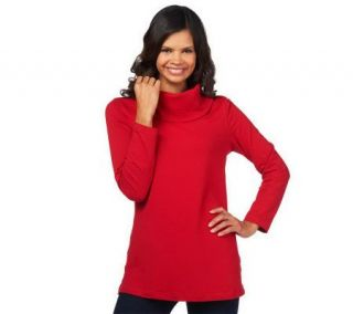 Denim & Co. Long Sleeve Cowl Neck Knit Tunic —