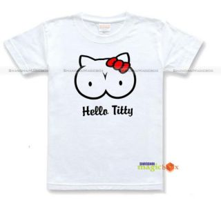 Hello Titty Boobs Funny Adult Humor T Shirt Tee White