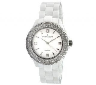 Peugeot Womens Swiss Swarovski Crystal White Dial Watch —