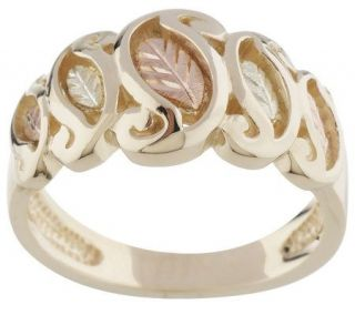 Black Hills Scroll Design Leaf Ring 10K/12K Gold —