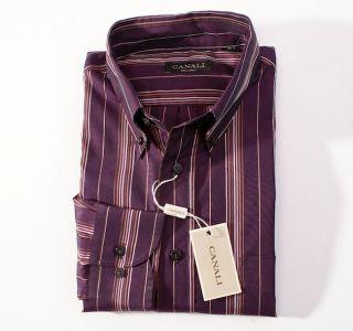 250 CANALI Deep Purple Stripe Button Front Cotton Shirt M Medium Italy
