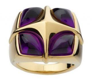 Four Corner Bold Polished Gemstone Ring 14K Gold —