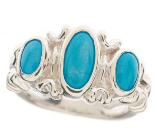 Sterling Sleeping Beauty Turquoise 3 stone Ring —