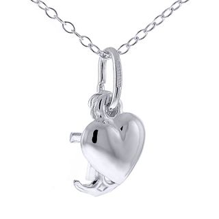 Hope Love Sterling Silver Cross Anchor Heart Charm Pendant Set