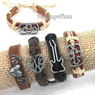 4PCS Fashion Guitar Cross Love Heart Charms Genuine Leather bracelets