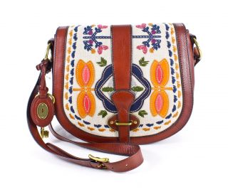 fossil vintage re issue flap leather crossbody bag multi brand new and
