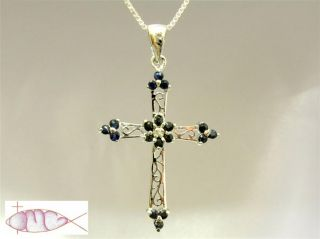 Silver Genuine Sapphire Filigree Cross Pendant Necklace