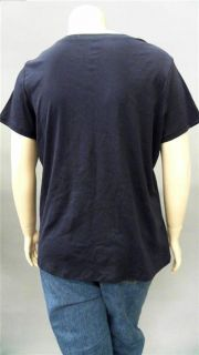 Covington Plus Womens 16 18W T Shirt Tee Top Blue Solid Short Sleeve