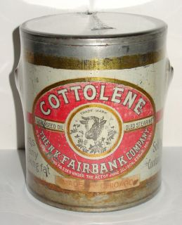 Cottolene Cooking Oil Tin Pail   N.K. Fairbank Company