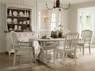 5pcs COUNTRY COTTAGE WHITE OVAL DINING ROOM TABLE CHAIRS SET FURNITURE