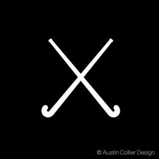 field hockey symbol white vinyl decal