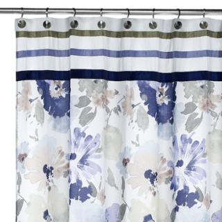 Croscill Watercolor Floral Violet Blue Fabric Shower Curtain NIP