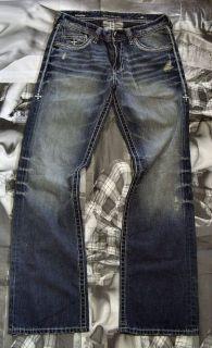 Authentic Affliction Cooper Black Premium Distressed Blue Denim Jeans