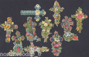 Memorial Cross Easter Floral Paper Art Scrap EF German