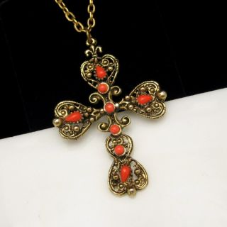 Vintage Large Ornate Antiqued Red Glass Cross Pendant Necklace