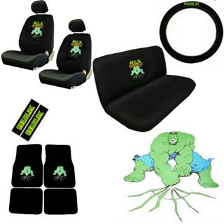 15pc Car Seat Cover Set Green Hulk Avenger Marvel Floor Mat Wheel Belt