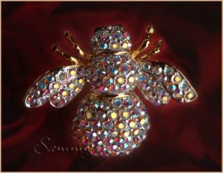 joan rivers aurora borealis crystal queen bee pin