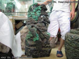 Green Stone emerald Jade Carve Crane pine tree Hill scenery Statue