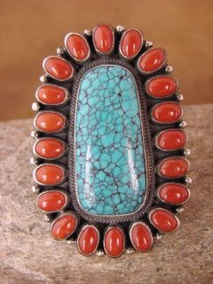 Sterling Silver Turquoise Coral Ring by Kirk Smith Size 5 5