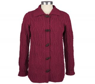 Aran Craft Merino Wool Aran Stitch Big Shirt with Toggle Closures