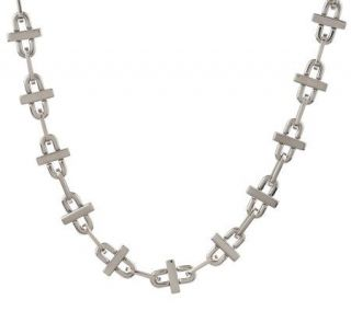 Forza Mens Stainless Steel Oval Link Necklace —