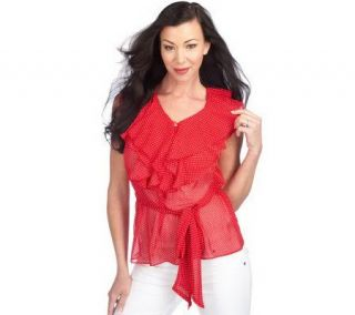 George Simonton Ruffle Front Chiffon Blouse with Removable Self Belt