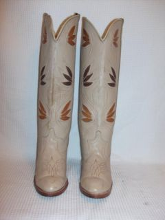 5M Acme Tall Tan Brown Leather Blend Western Cowboy Heels Boots