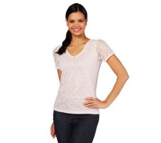 Liz Claiborne New York Eyelet Lace T Shirt with Lining   A214389