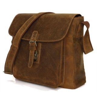 Cowboy Crazy Horse Leather Mens Bags Satchel Shoulder Messenger Bag