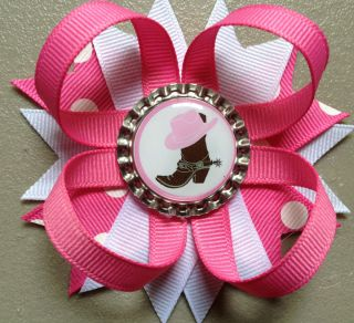 SET of 12 COWGIRL BOOTS PINK HAT BIRTHDAY PARTY FAVORS BOTTLE CAP HAIR