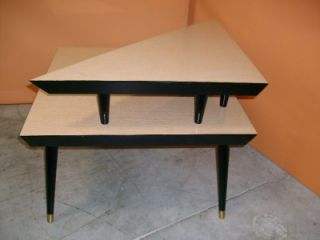 1960s Mid Century Modern Blond Formica Two Level Corner Table