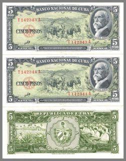 Cuba Lot of 2 Bills 1960 Che Guevara Sequence Uncirculated Original