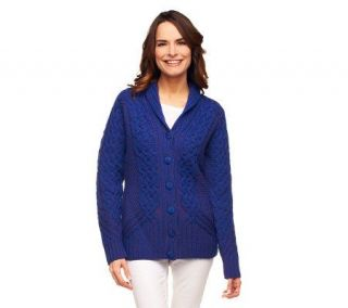 Aran Craft Merino Wool Plated Shawl Collar Cardigan   A228592