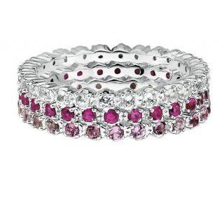 Simply Stacks Sterling Wht Topaz, Ruby, & PinkTour. Ring Set   J306025